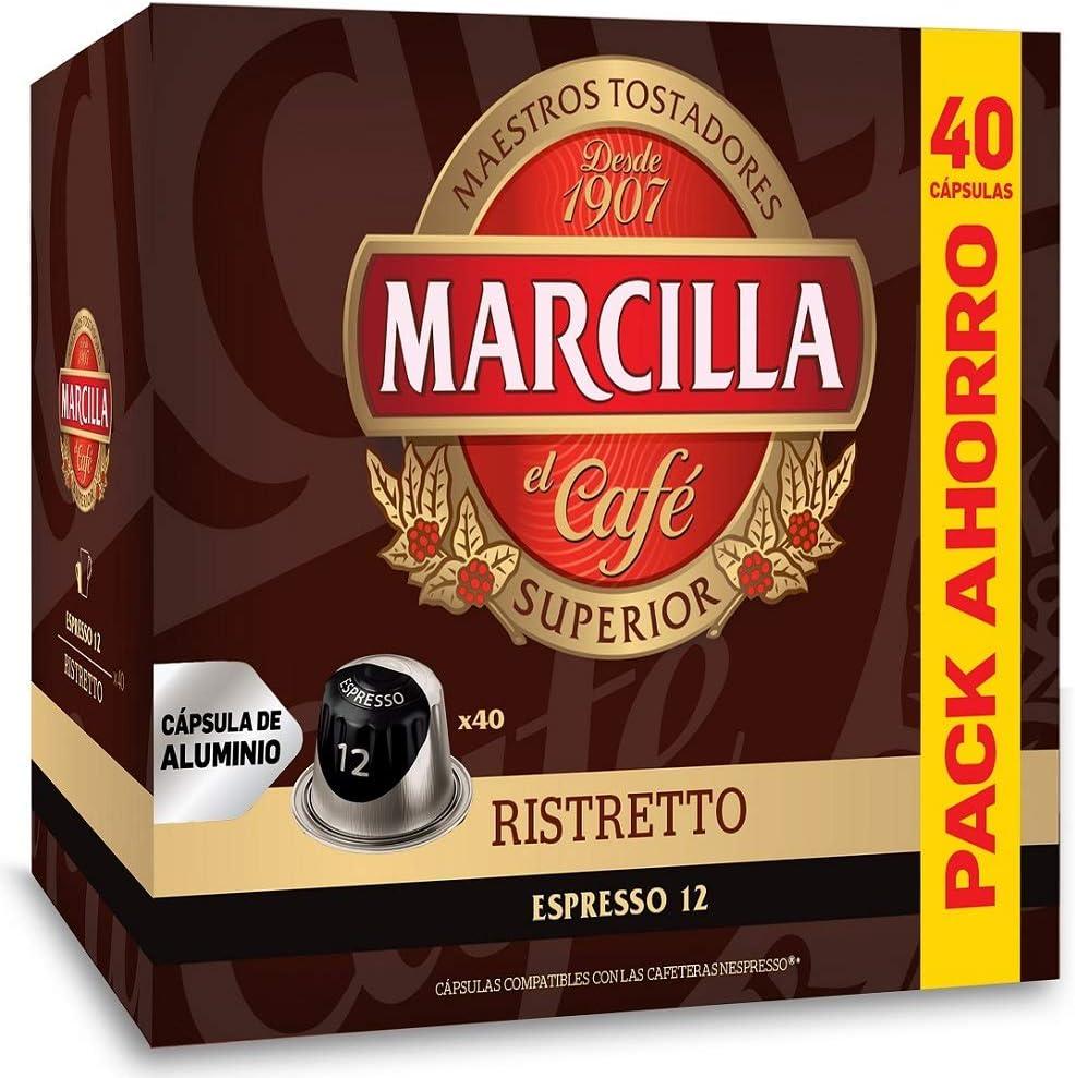 Marcilla Ristretto Capsulas Compatibles Nespresso Aluminio, Formato Ahorro - 40 Bebidas