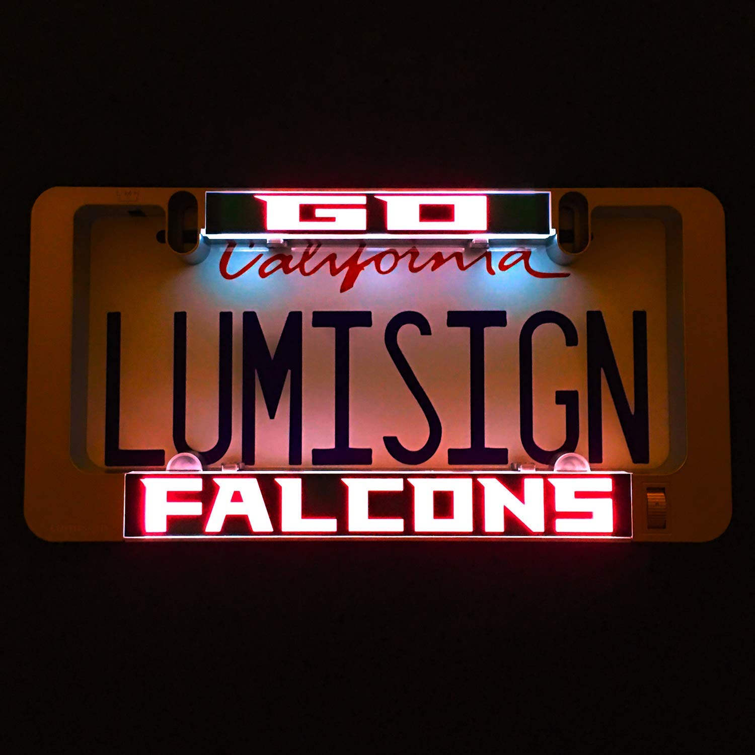 LumiSign - The Auto Illuminated License Plate Frame | Lights Up While You Brake | Installs in Seconds | No Wires, Battery Operated | Interchangeable Inserts Olens Technology