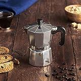 VonShef Stovetop Aluminium Espresso Maker Moka Pot, Chrome, 3 Espresso Cups