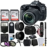 Canon EOS 80D DSLR Camera with 18-135mm Lens Video Creator Kit + Wide Angle & Telephoto Lens + SanDisk 32GB Card + Wireless Remote + Video Monopod + DC59 Gadget Bag + Slave Flash + Accessory Bundle