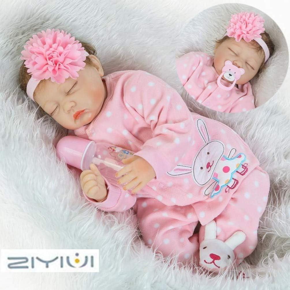 ZIYIUI 55cm Muñecos Bebé Reborn Muñeca Niña Ojos Cerrados Bebe Realista Baby Doll Silicona Vinilo Dormir Toddler Magnetismo Juguetes