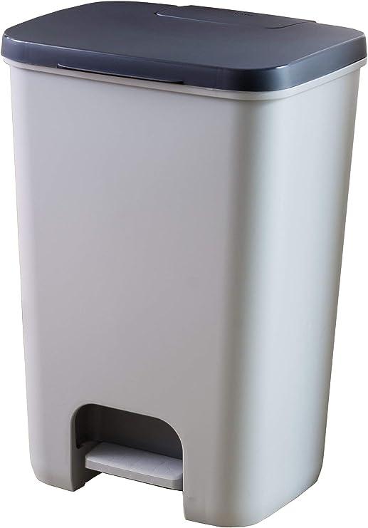 35.5 x 30 x 39 cm Fabricado en pl/ástico Polipropileno Capacidad para 23 litros Tatay Cubik Hydraulic Cubo de Basura para la Cocina con Apertura a Pedal Gris//Blanco