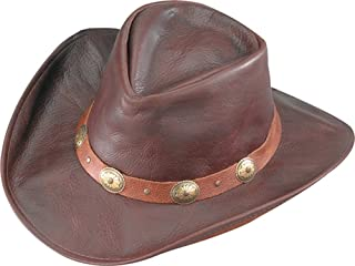 product image for Henschel Lightweight Full Grain Leather Hat Hiker with Conchos On Band, Chocolate, Medium