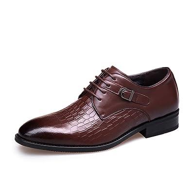 LEDLFIE Chaussures en Cuir Véritable Chaussures de Mariage à Lacets Respirant pour Hommes,Brown-38