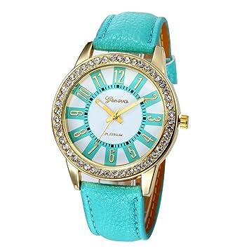 Xinantime Relojes Mujer,Xinan Reloj Cuarzo Acero Inoxidable Analógico PU Cuero (Cielo Azul)