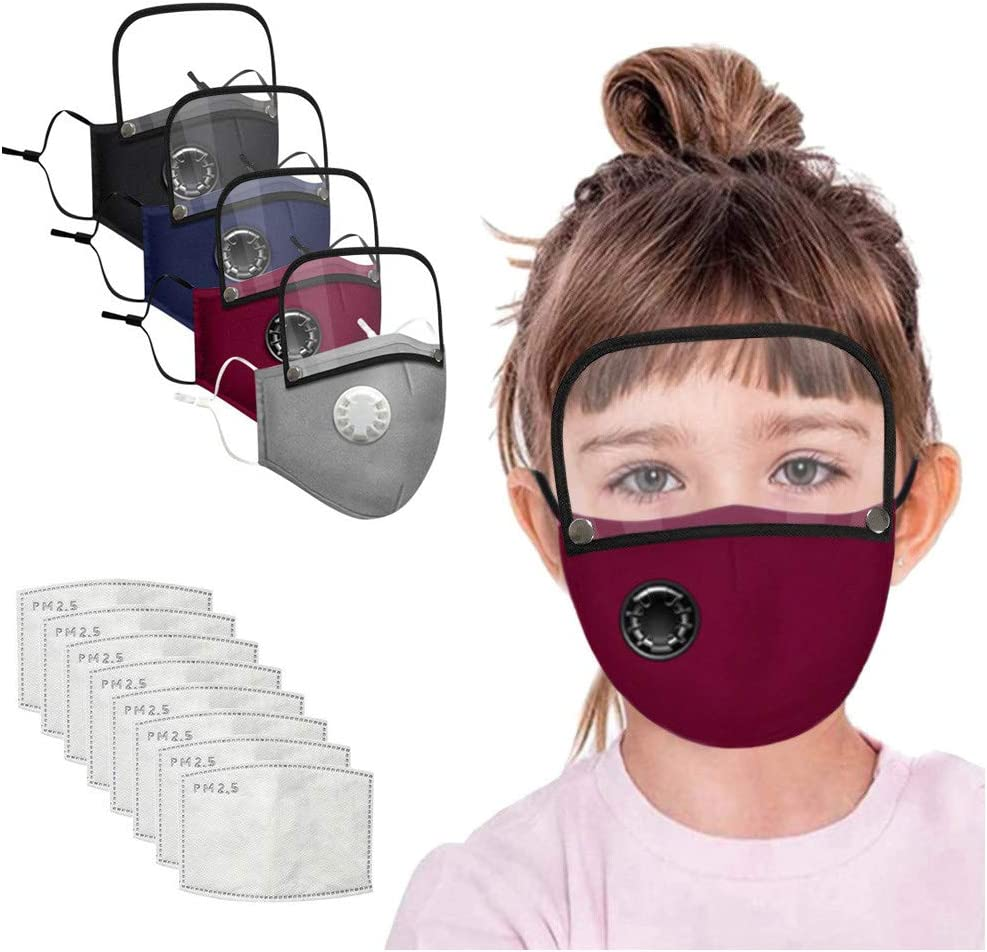 4 Color M/àcks + 8 PCS Filters Fiaya【USA In Stock 7-12 Days Delivery】Kids Reusable Face4 M/àcks Cotton with Detachable Eyes Sh/ìeld /& Breathing Valve With 8 Activated Carbon Filter Replaceable Filters
