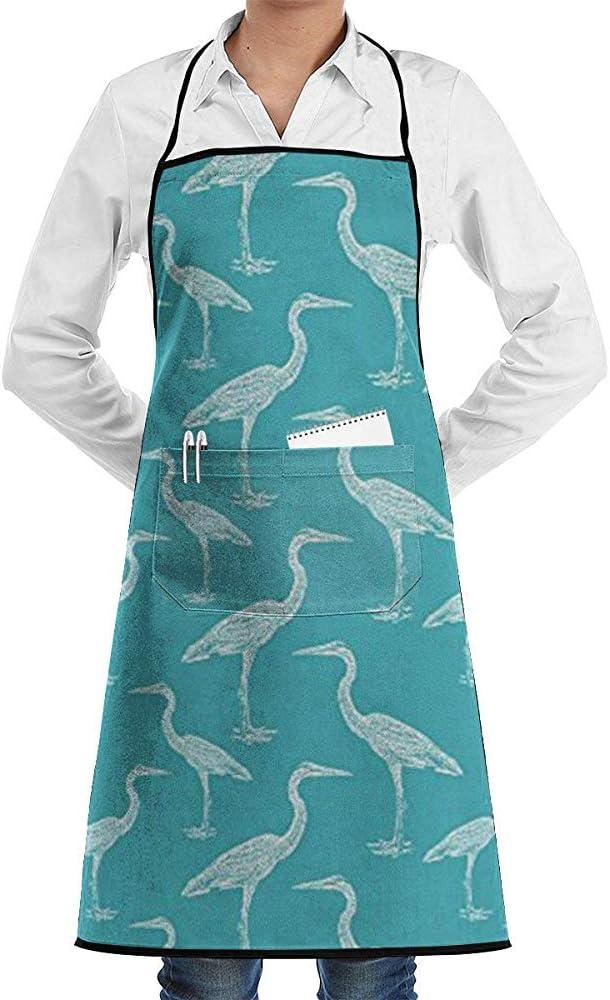 Pag Crane Delantal Ajustable Blue Heron con Corbatas Extra largas de Bolsillo, Delantal de Cocina para Hombres y Mujeres para cocinar, Hornear, Hacer Manualidades, jardinería, Barbacoa
