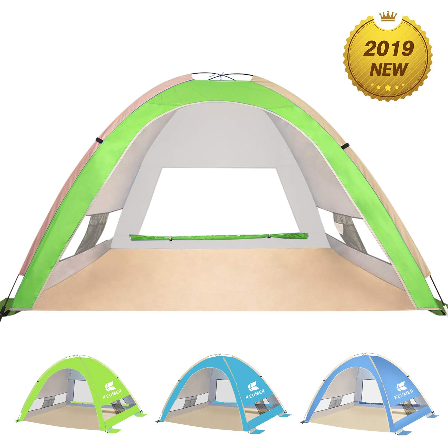 KEUMER Venustas Large Pop Up Beach Tent Automatic Sun Shelter Cabana Easy Set Up Light Weight Camping Fishing Tents 4 Person Anti-UV Portable Sunshade for Family Adults by KEUMER