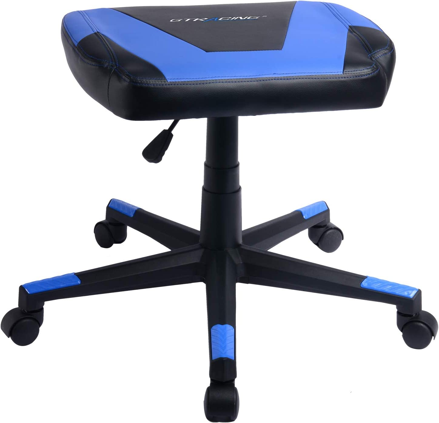 GTRACING Gaming Ottoman Footstool Chair Height Adjustable Footrest Spare Seat PU Leather Blue