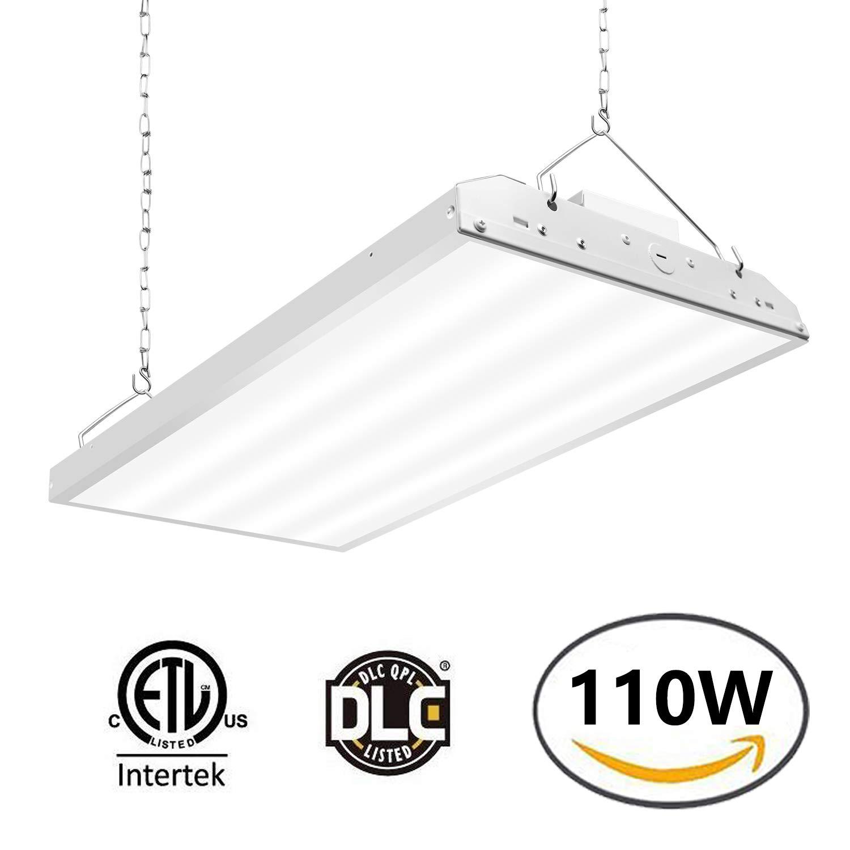 Linear LED High Bay Light, LED Shop Light Fixture 110W 14300lm 1-10V dimmable 5000K [400W Fluorescent Equiv.] Motion Sensor Optional, Indoor Commercial Warehouse Area Light