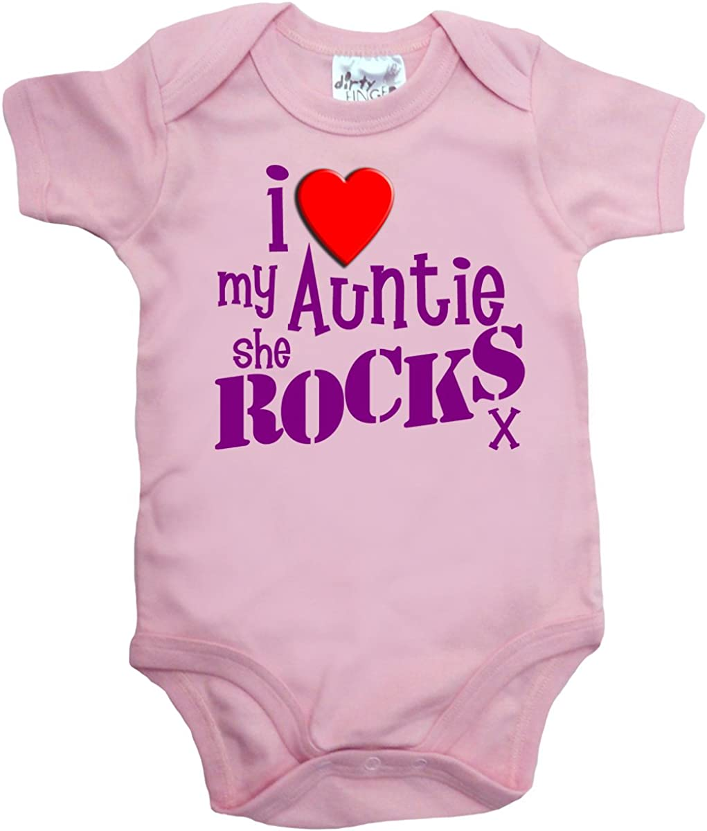 Dirty Fingers Long Sleeve Bodysuit Baby grow Auntie is my Bestie Love Aunt Aunty
