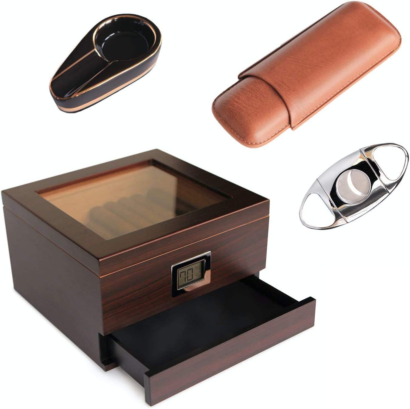 CASE ELEGANCE - Renzo Glass Top Humidor with Cigar Cutter, Ashtray, and Travel Cigar case Bundle