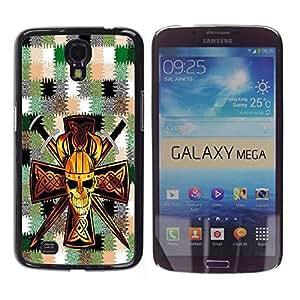 - Devil Cross Chevron Pattern - - Monedero pared Design Premium cuero del tirš®n magnšŠtico delgado del caso de la cubierta pata de ca FOR Samsung Galaxy Mega 6.3 i9200 i9208 Funny House
