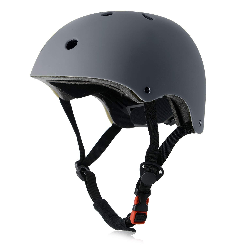 OUWOR Skateboard Helmet CPSC Certified, Multi-Sport for Skate Scooter Bike Rollerblade Longboard Hoverboard BMX (Gray, Large) by OUWOR