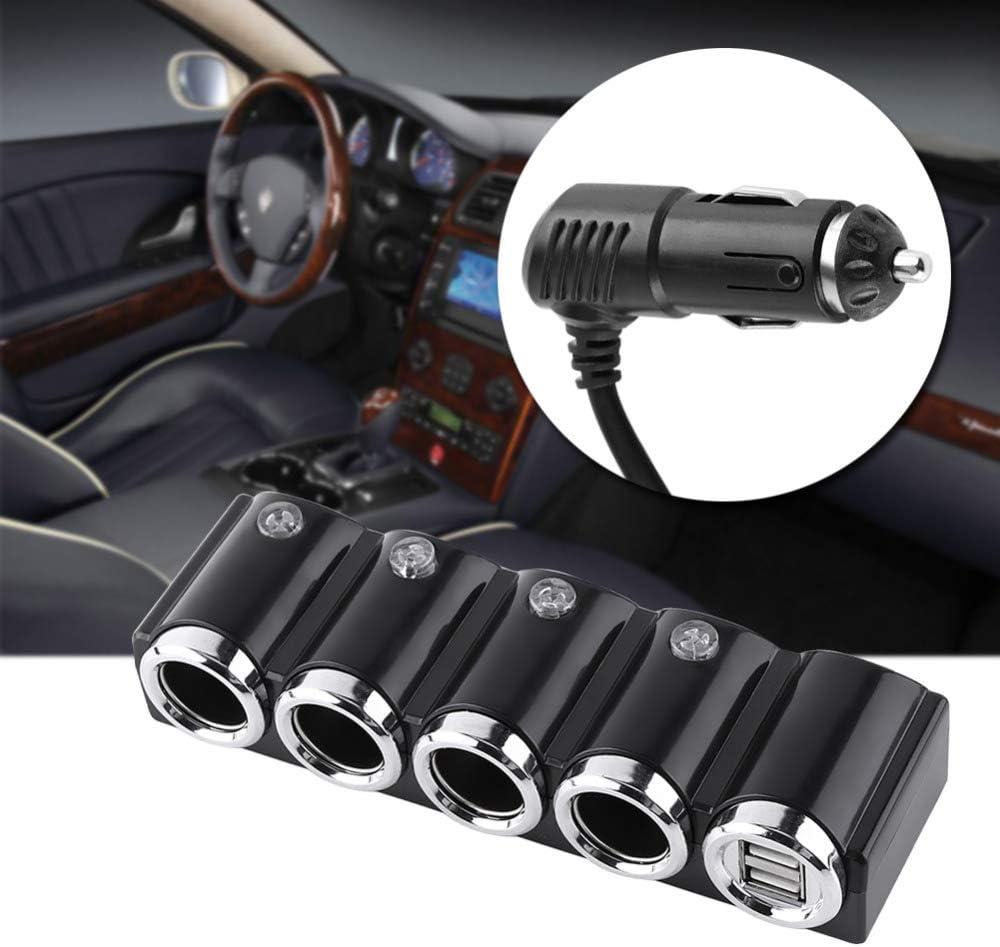 XZANTE Multi-Prise 4 Voies Allume-Cigare Distributeur Adaptateur Secteur USB Chargeur avec Interrupteur Chargeur Double USB pour T/éL/éPhone Intelligent DC 12V 24V Noir 120W