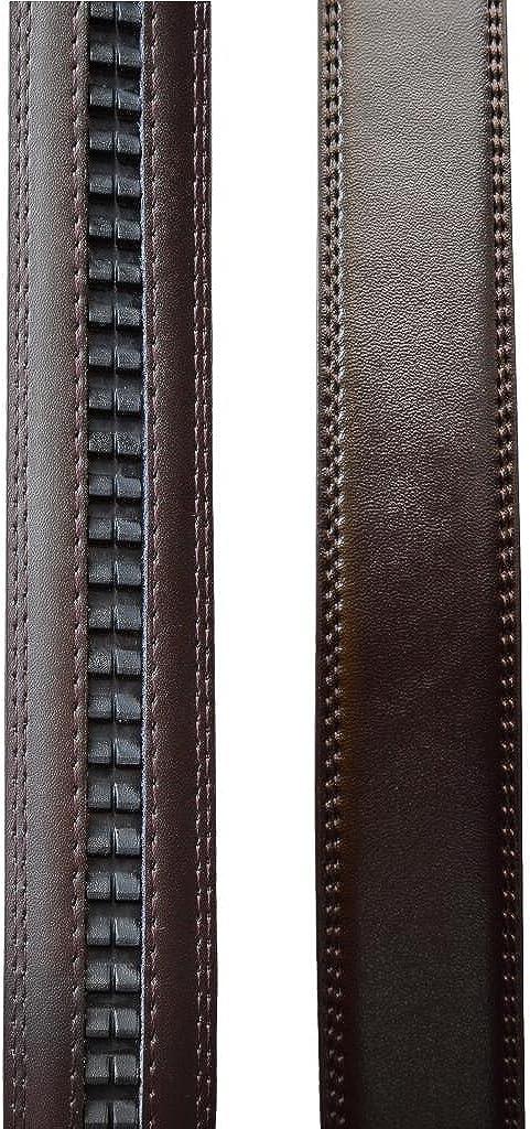 VinicioBelt Mens Central Buckle with Automatic Ratchet Leather Belt