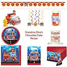 Firefighter Birthday Party Bundle Includes: Happy Birthday Banner, Candles, Table Cover, Gift Bags, Banner, Dizzy Danglers, 12 Bubbles, 16 Dessert Plates, 16 Lunch Napkins