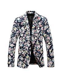 Allonly Men's Fashion Floral Peak Lapel Cotton Suit Blazer Jacket One Button Suit