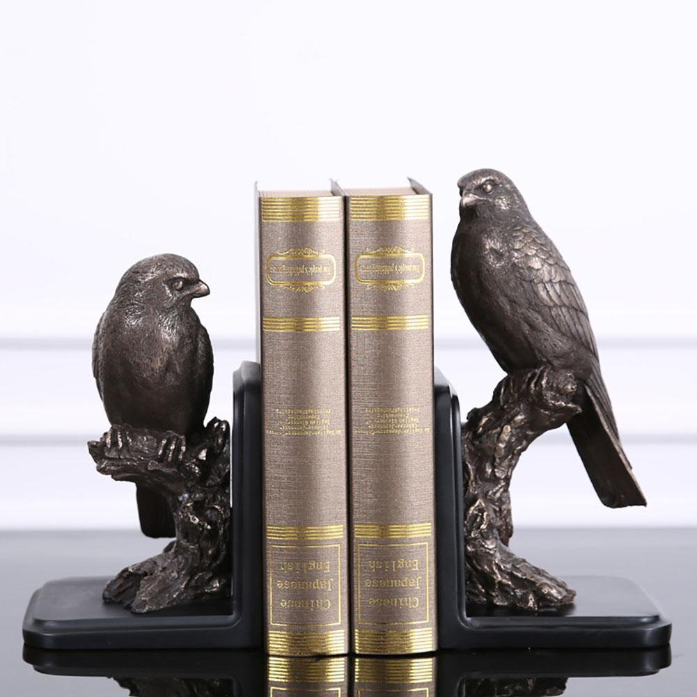LPY-Set of 2 Bookends Resin Birds Style Crafts, Book Ends for Office or Study Room Home Shelf Decorative