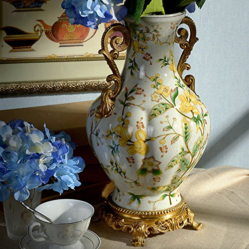 Tall Porcelain Vase (European Porcelain Copper Vase Flower Home Office Decor Hand Made and Hand Engraved ( Height: 15 inches ))