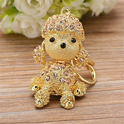 Gold Cute Dog Sparkling Poodle Blingbling Diamond Crystal Rhinestone Alloy Metal Keychain Animal Puppy Lover Kawaii Keyring Key Chain Pendant Purse Handbag Bag Car Hanging Charm Decoration Gift Diamond Purse Pendant