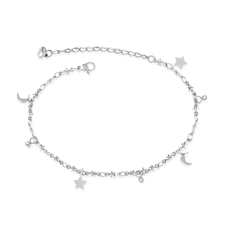 MONIYA Stainless Steel Moon & Stars Cubic Zirconia Anklet Bracelet For Women, Silver/Rose Gold Tone