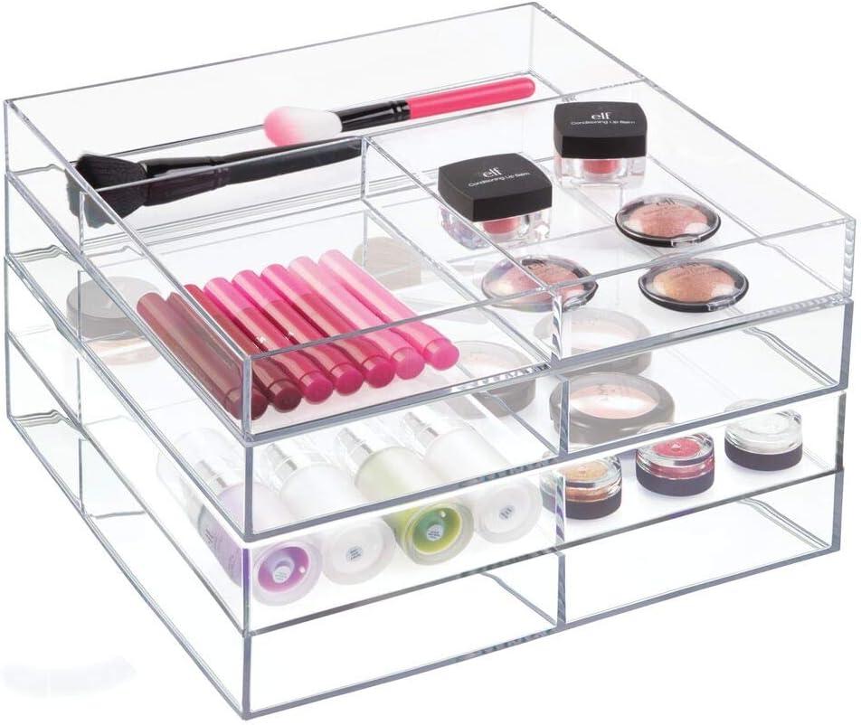 mDesign pintalabios y otros productos de belleza Organizador de maquillaje con compartimentos Transparente Pr/áctico organizador de cosm/éticos apilable para guardar pintau/ñas
