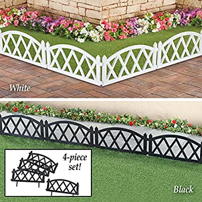 Picket White Fence Garden Border Edging Set of 4