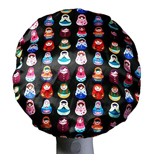 Dilly's Collection's Shower Caps - Microfiber Inner Layer - Bathing Cap For Women - Designed For Long Hair Deadlocks Rollers Hair Extensions - Babushka Design