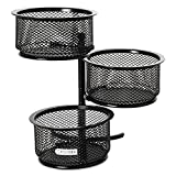 Rolodex 62533 3 Tier Wire Mesh Swivel Tower Paper Clip Holder 3 3/4 x 6 1/2 x 6 Black