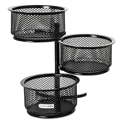 - Rolodex 62533 3 Tier Wire Mesh Swivel Tower Paper Clip Holder 3 3/4 x 6 1/2 x 6 Black
