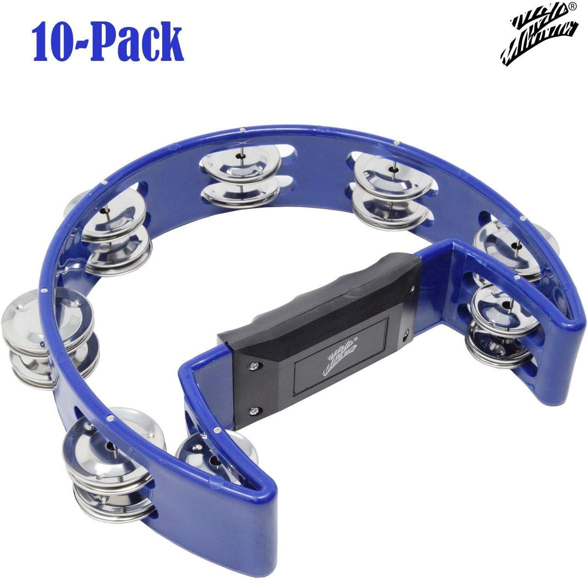 10-Pack Half Moon Tambourine Percussion Drum 8 Double Row Metal Jingles Blue