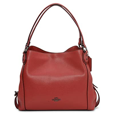 COACH Women s Pebbled Leather Edie 31 Shoulder Bag Dk Washed Red One Size aa1b8445e18b9