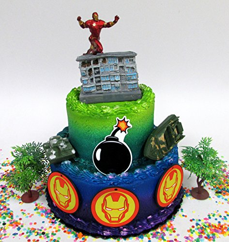 Avengers IRON MAN Themed Birthday Cake Topper Set Featuring Iron Man