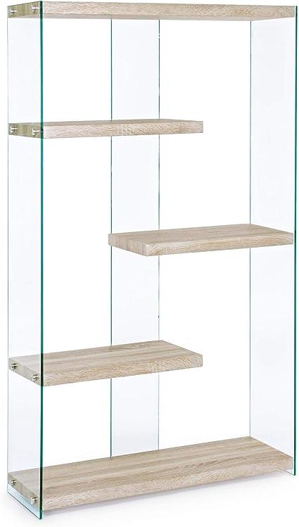 ARREDinITALY Librería con estantes laterales de cristal ...