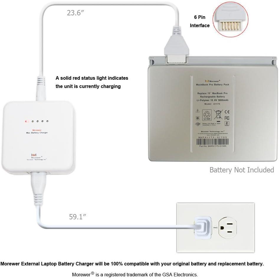 "Morewer (TM) External Laptop Battery Charger for Apple MacBook 13"" White & Black MacBook Pro 15"" 17"" non-Unibody Series Apple PowerBook G4 12"" G4 15"" G4 17"" Aluminum Series Apple iBook G3 12"" G3 14"" G4 12"" G4 14"" Series Apple PowerBook G3 2000 aka Pismo aka WallStreet aka PDQ aka Lombard Series A1175 A1185 A1189 MA561 MA566 MA348 MA458 A1022 A1060 A1079 A1008 A1061 A1045 A1078 A1148 A1039 A1057 Battery Charger, [ Charger for Apple 6 Pin Battery, 3 Years Warranty ]"
