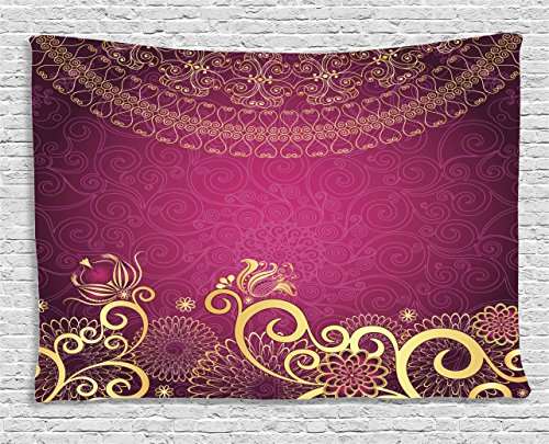 Ambesonne Collection Swirling Arabesque Tapestry