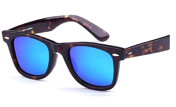 Gafas de sol Wayfarer Unisex Marrón y azul marco de tortuga ...