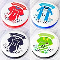 Football Cake Topper - Shirt Colour + Your Personalised Message (send us your message by using the 'Gift Message' facility at checkout)