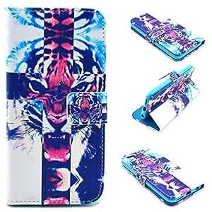"""iPhone 6 Plus 5.5"""" / iPhone 6S Plus 5.5"""" funda , Apple iPhone 6 Plus 5.5"""" / Apple iPhone 6S Plus 5.5"""" funda , Lifetrust® Todos Nuevo Choque Tecnología Absorción cuero martillado lujo De pie de cuero del funda con ranuras para ID / tarjetas bancarias Resistente a Arañazos funda para Apple iPhone 6 Plus 5.5"""" / Apple iPhone 6S Plus 5.5"""" [ Hermosa modelo de la nebulosa de la galaxia Tiger Cross ]"""