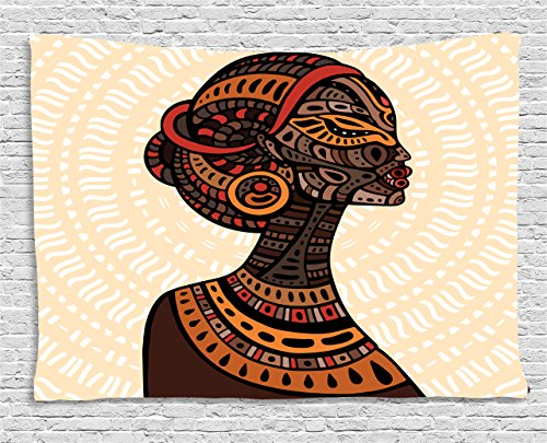 Ambesonne African Woman Tapestry, Hand Drawn Ethnic Illustration Profile Portrait Tribal Ornaments Folk Art, Wall Hanging for Bedroom Living Room Dorm, 80 W X 60 L Inches, (Folk Art Portraits)