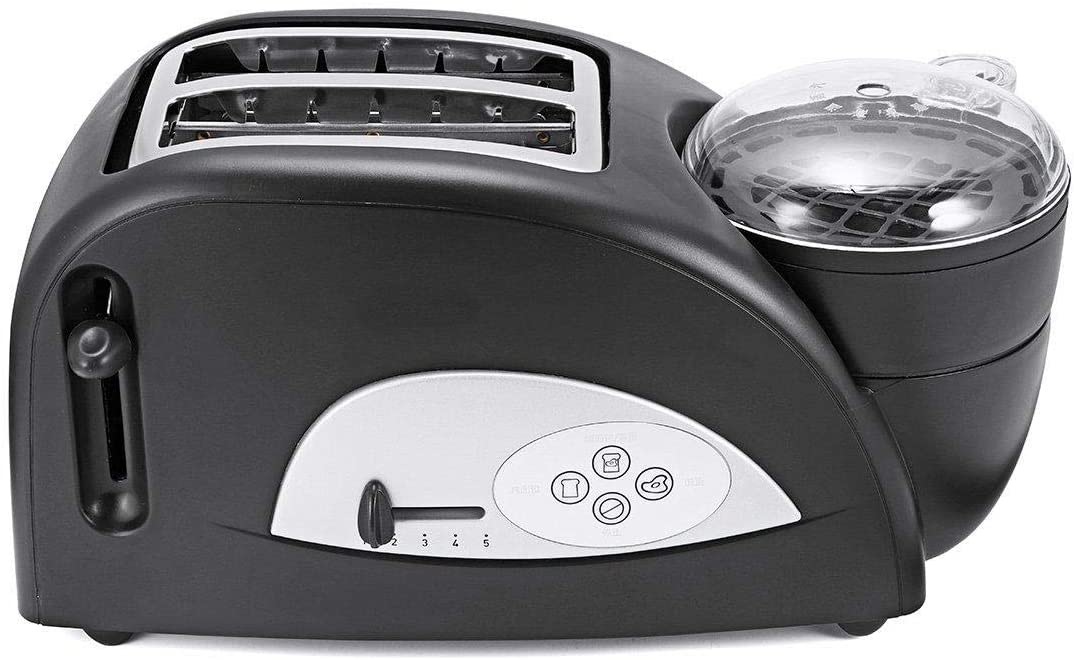 Heavensense 2 in 1 Stainless Toaster and Egg Cooker Breakfast Wide Slot Toaster Kitchen Oven Machine