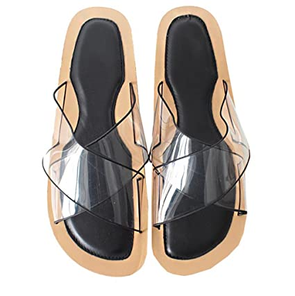 0864d2937b YAnFAn & Sandals Sandal Slip-On for Woman Girls Stylish Flat Heel  Transparent Cross Strap
