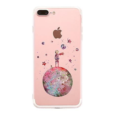 autentico 47716 463d5 Cover iPhone 8 Plus/ iPhone 7 Plus Silicone,Caler Custodia iPhone 8 Plus/  iPhone 7 Plus Originale arancione trasparente animali disegni gel morbido  ...