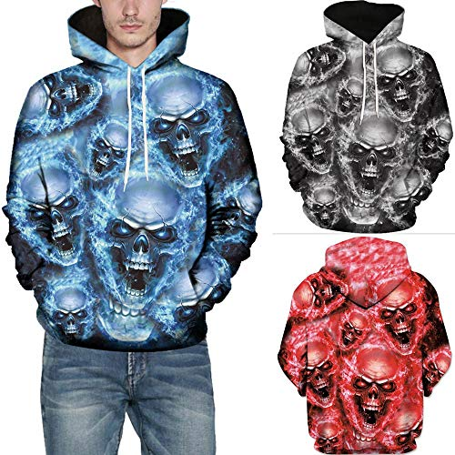 SMALLE ◕‿◕ Clearance,Mens 3D Printed Skull Pullover Long Sleeve Hooded Sweatshirt Tops Blouse by SMALLE (Image #4)