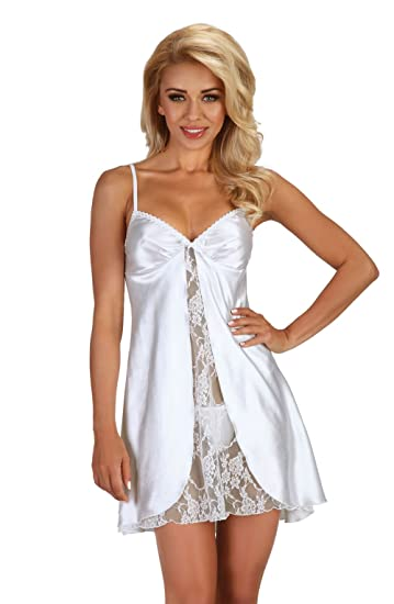 d8a68fb68354e Ladies Adult Sexy Bridal White Chemise Babydoll Slip deep V Bust Satin lace  Lingerie Set Thong Wedding 8 10 12 14 16 UK  Amazon.co.uk  Clothing