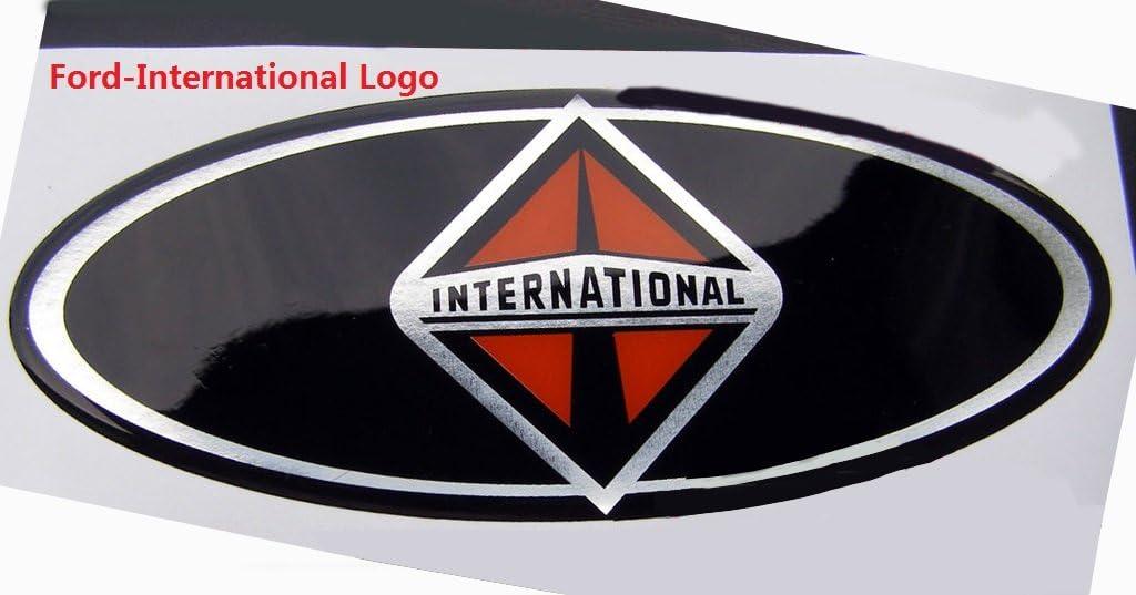 Set OEM Red F-250 International Side Fender Plus 7.3L Power Stroke International Emblem Badge Powerstroke 3D Logo Replacement for F250 Pickup Black