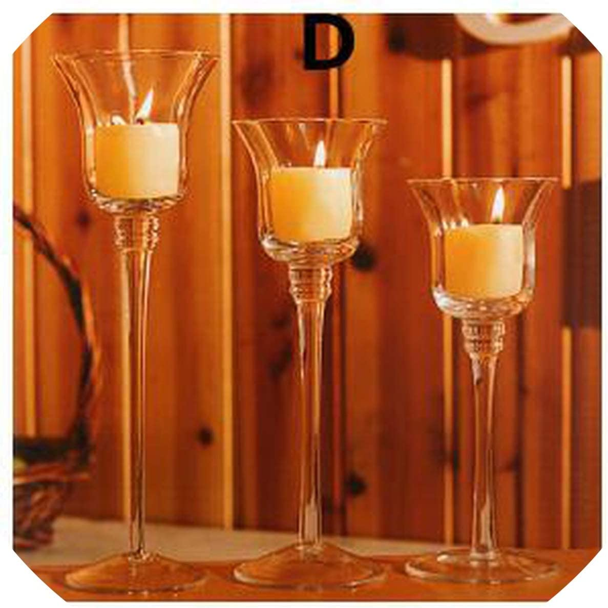 Crystal Glass Candle Holder Candlestick Tealight Wedding Party Table Decoration