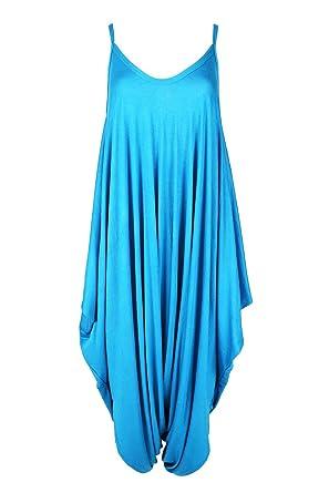 44c41076c30 New Womens Ladies Cami Thin Strap Lagenlook Romper Baggy Harem Jumpsuit  Playsuit S M (UK 8 10) Turquoise  Amazon.co.uk  Clothing