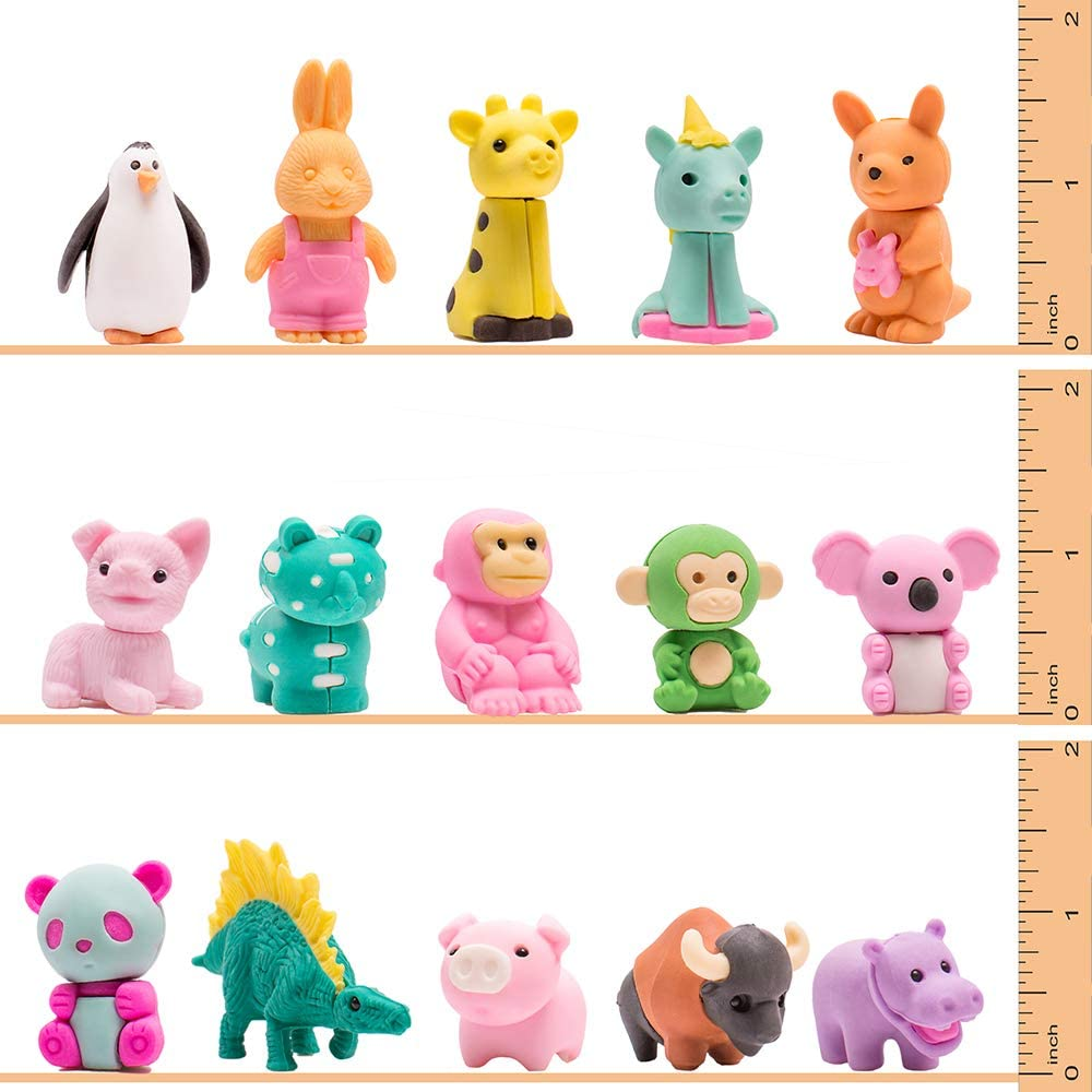 Removable Assembly Zoo Animal Pencil Eraser Toys for Party Favors H S D K CREATE YOUR LIFE 30 Pcs Animal Erasers,Non-Toxic Pencil Eraser Classroom Fun Games Prizes for Kids